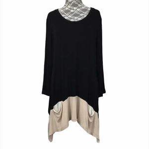 Logo Lori Goldstein Black Beige Pocket Tunic Top
